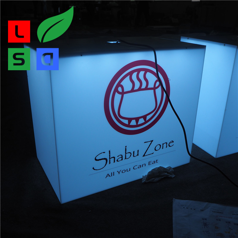 Outdoor Using Cube Light Box Sign Front Store Hanging 3D Led Aluminum